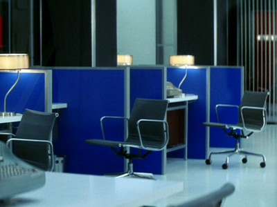 Cubicles of secretarial pool at Know magazine