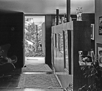 View to the front door of Shulman's home. Photo by David Laslie.