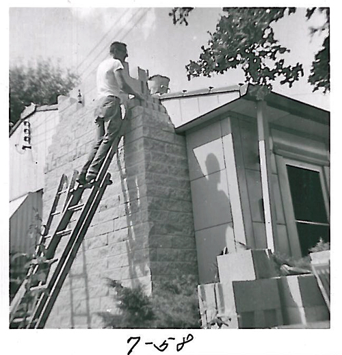 Brentwood, MO Lustron owner adding a chimney to the home in 1958