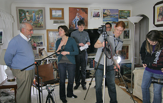 Documentary filming day at (left) Ralph Fournier's home, February 2013. Jessica Senne is to the right of Fournier.