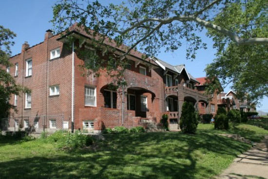 Leave Hwy 70 at West Florissant to head north, and there's multi-family housing like this, from 1926, overlooking Bellefontaine Cemetery.