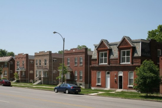 Leading to the North Kingshighway intersection is a row of new in-fill housing built in 2005 next to a remaining 2-family flat built in 1900.