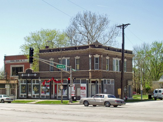 At Geraldine Avenue, which is the dividing line between Bellefontaine and Calvary Cemetery Calvary, is this commercial/residential building from 1909. In 1921 it housed a Kroeger's Market and Shields Florist (who remained until 1963).