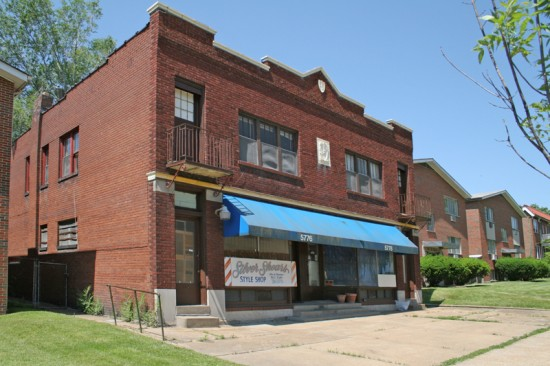 This building at 5776 West Florissant was erected in 1927, and from 1930 to 1971 was the Walnut Park library. It was also the home of Fischer & Sons Cleaners, and as an old, painted over sign in the window once revealed, the Wilson Cab Co.
