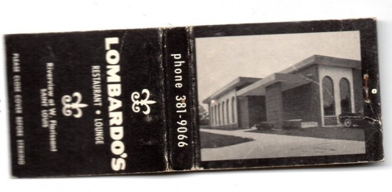 A vintage matchbook from Lombardo's Restaurant in the late 1960s.