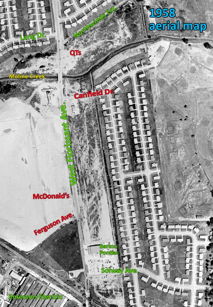 1958 aerial map of West Florissant, north of Lucas & Hunt (click to enlarge). And there's NOTHING along what would become a thriving retail district. New homes were up, but Ferguson Avenue had yet to be plotted. Canfield Drive had only just begun. The first building in the spot that becomes QTs erected in 1965. A Pontiac dealership was the first major retail to follow in the shadow of Northland Shopping Center. That building remains as of today as 9020 W. Flor.  By 1962, the empty spots were filling in rapidly.
