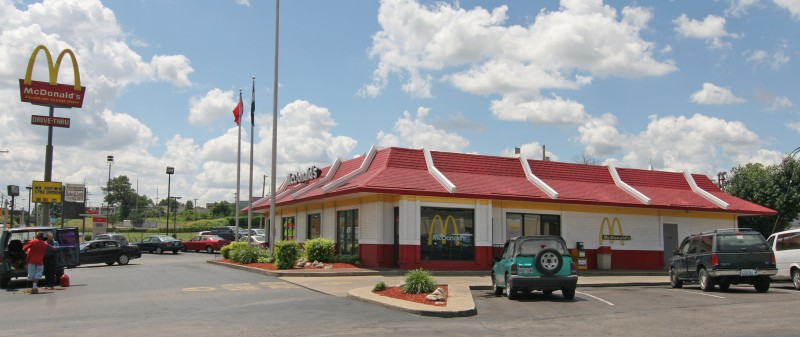In 1968, at 9131 West Florissant in Ferguson, MO was erected the McDonald's Systems Hamburgers chain. This 2008 photo shows the 3rd remodel from the original. The 4th version is the stone facade version seen by the world in the aftermath of Mike Brown's killing, also known as the place where journalists were arrested by Ferguson police.