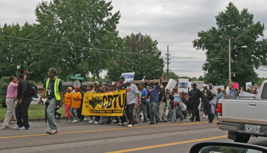 photo by Toby Weiss | Scene from the August 16, 2014 peace march for Michael Brown, up West Florissant at Nesbit Dr. This is the residential section, with still-handsome ranch homes that began springing up in 1956. This is also where police fired tear gas into a backyard.